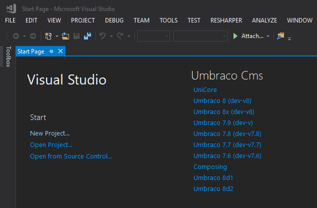 2019 06 20 11 53 32 Start Page Microsoft Visual Studio